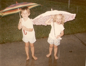 me and will playing in the rain